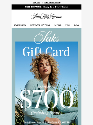 Here's up to a $700 gift card