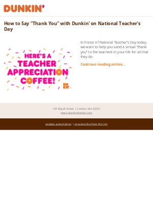 """Dunkin' Donuts - How to Say """"Thank You"""" with Dunkin' on National Teacher's Day"""