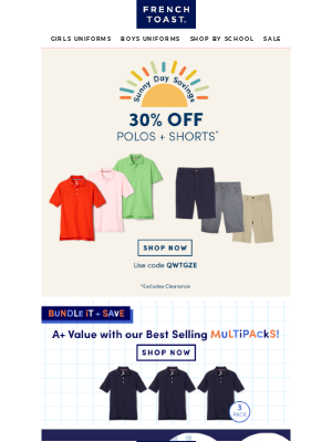 Weather Report: Sunny with 30% off Polos & Shorts