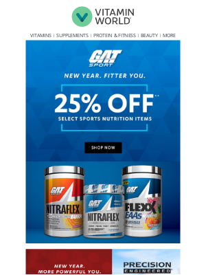 Vitamin World - Get Pumped. Get Fit. Get GAT 25% Off!