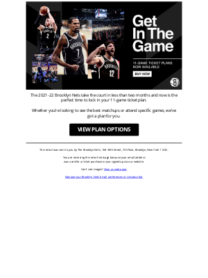 Brooklyn Nets - 11-Game Ticket Plans On Sale Now