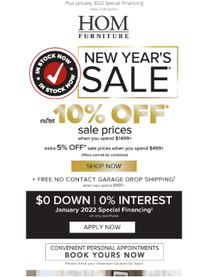 HOM Furniture - Ring in the New Year with 10% Off Sale Prices