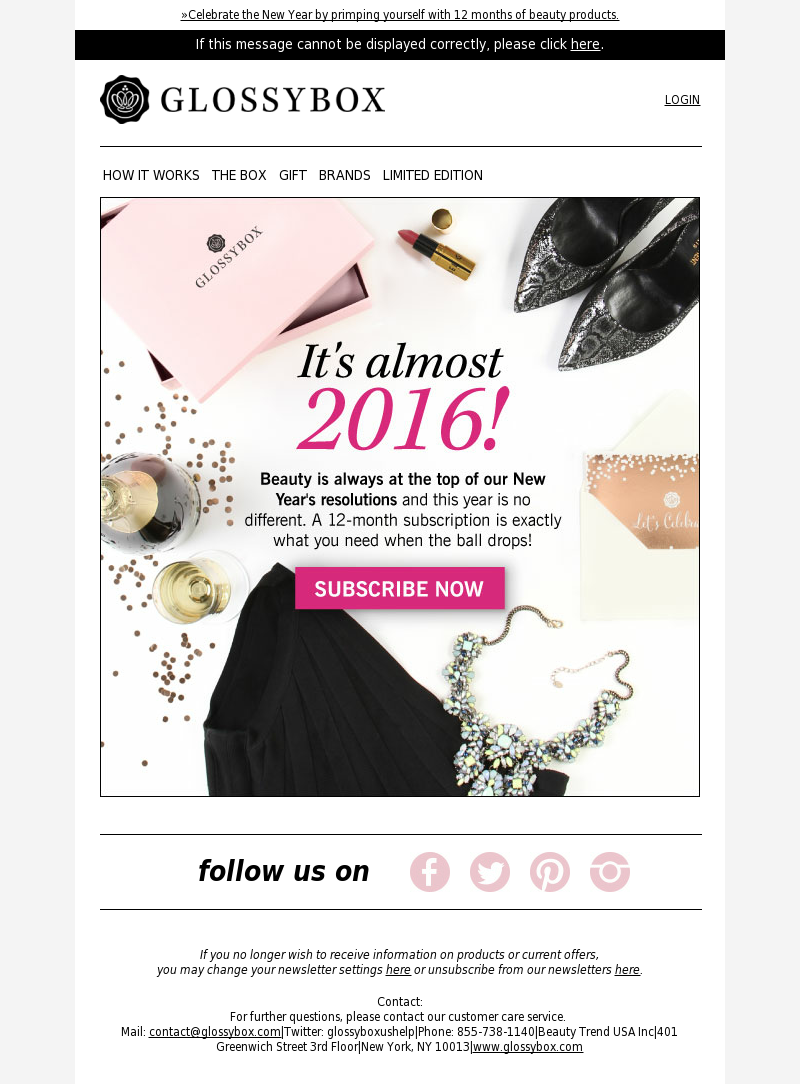 »Celebrate the New Year by primping yourself with 12 months of beauty produ