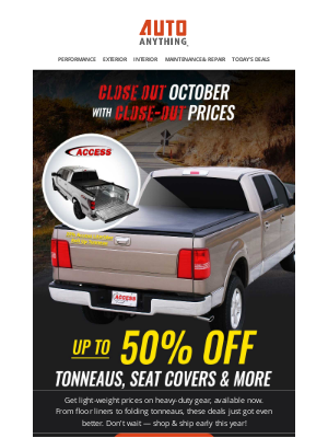 AutoAnything - Now Take up to 50% off Tonneaus, Seat Covers & More.