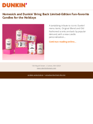 Dunkin' Donuts - Homesick and Dunkin' Bring Back Limited-Edition Fan-Favorite Candles for the Holidays