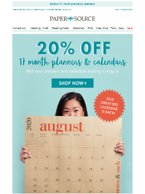 Take 20% Off Our Great Big Calendar & More!