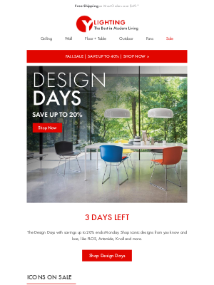 YLighting - 3 Days Left: Design Days. Find pieces that will complete the look of your home.