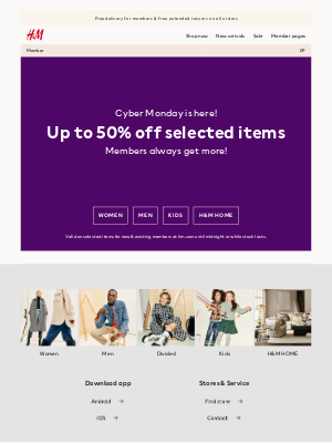 H&M (UK) - Cyber Monday: Up to 50% off selected items