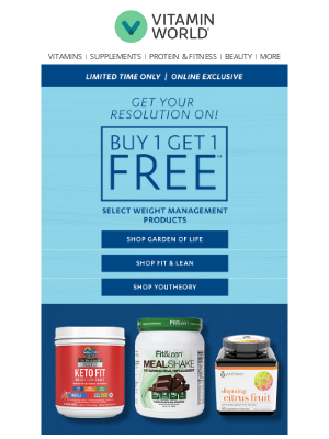 Vitamin World - Buy 1 Get 1 Free Weight Management & Sports Nutrition!