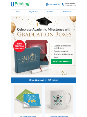 UPrinting - Rush Printing Now Available | Create Your Graduation Boxes Now