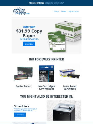 OfficeSupply.com - Today ONLY! Copy paper sale.