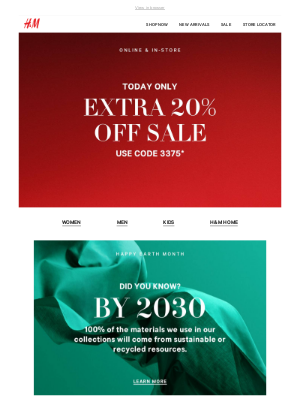 Surprise! Extra 20% off sale today only