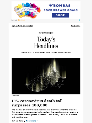 Thursday's Headlines: U.S. coronavirus death toll surpasses 100,000