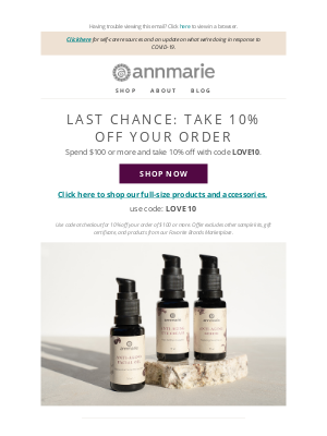 Annmarie Gianni Skin Care - 10% off: Herb-infused favorites, post-yoga or all fall