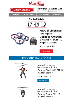 $45.95 -Marvel Licensed Avengers Captain America 2.4GHz 4.5CH RC Super Drone