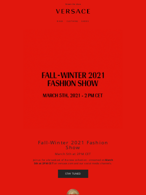 Versace - Your Fall-Winter 2021 fashion show invitation