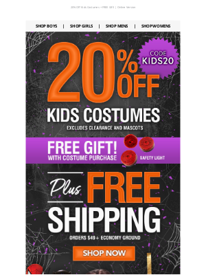 Wholesale Halloween Costumes - 20% Off Kids Costumes + FREE GIFT! 👏