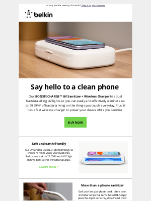Belkin - Your Phone Is Filthy: Sanitize + Charge