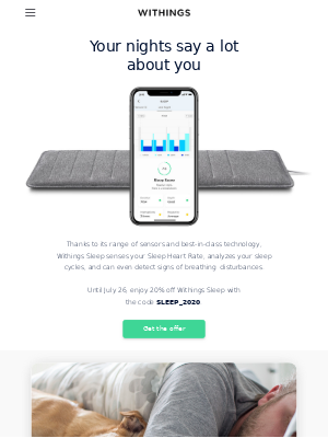Withings - Get 20% off Sleep so you can track Sleep Heart Rate, breathing disturbances, and more