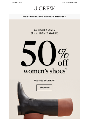 J.Crew Factory - Hours left: 50% off women's shoes ends soon...
