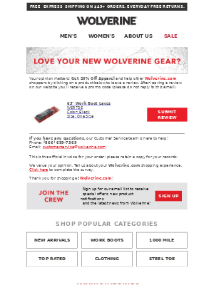 How's It Going? Get 20% Off Apparel When You Review Your New Wolverine Product