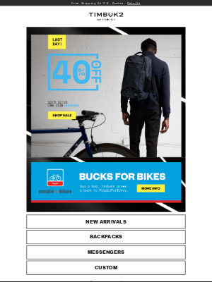 Bucks for bikes! Take 40% OFF+ Give back to PeopleForBikes.