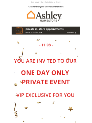 Ashley Furniture Industries - Save the Date: November 8th, VIP Event