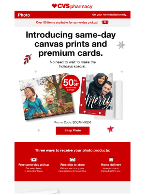 CVS Pharmacy - 50% Off New Same-Day Canvas for Fully Decked Walls.