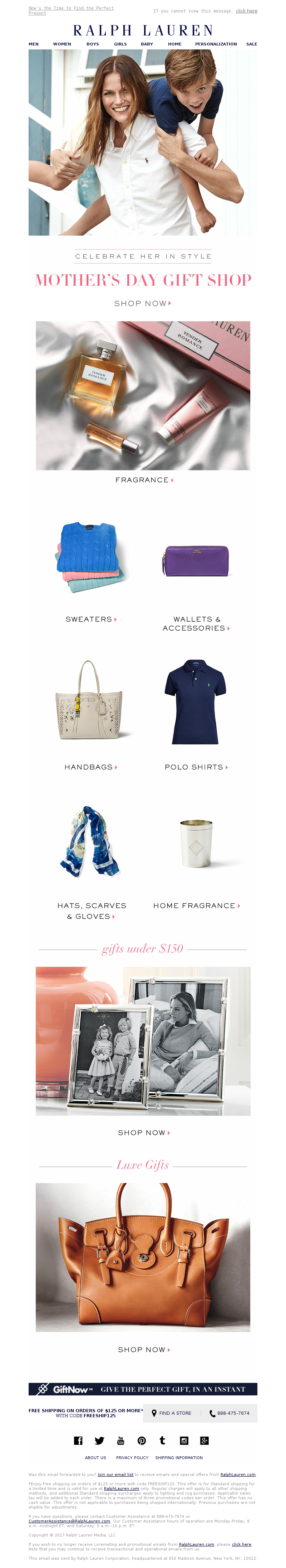 Mother's Day email example from Ralph Lauren