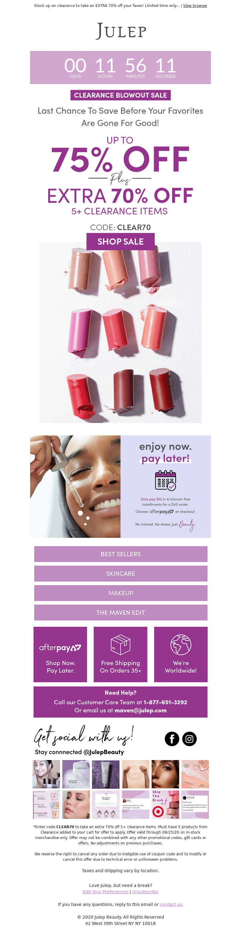 Julep discount and promotional email for clearance products