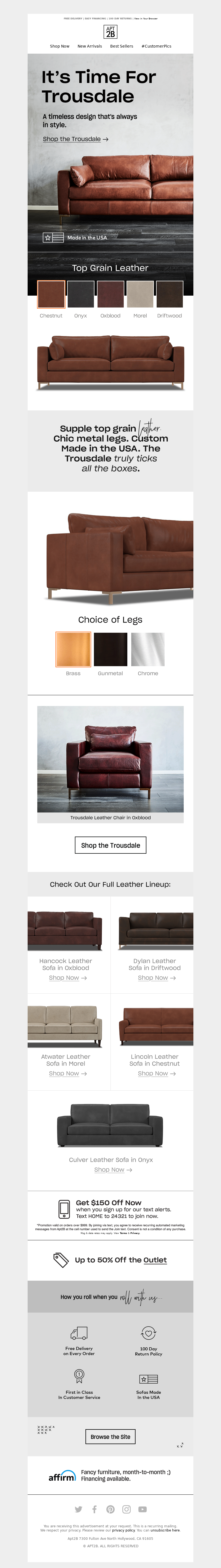 Apt2B - It's Time For Trousdale – Your New Leather Sofa