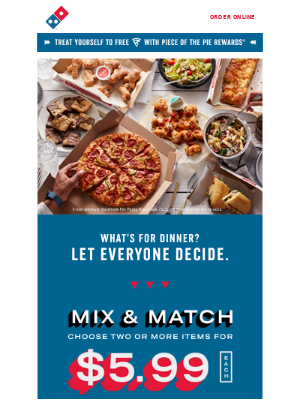 Mix & Match 2 or more items for only $5.99 each