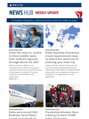 Delta Air Lines - Blocking middle seats and helping you navigate travel restrictions through the holidays