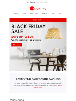 YLighting - Iconic designs with savings up to 50%.