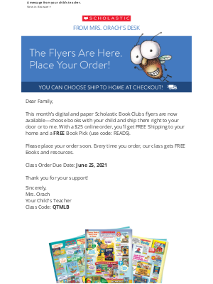 Scholastic - From Mrs. Orach About June's Reading!