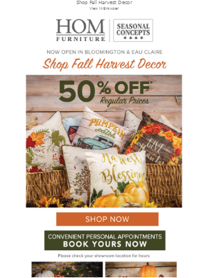 HOM Furniture - Falling Prices on Fall Harvest Decor 🍂