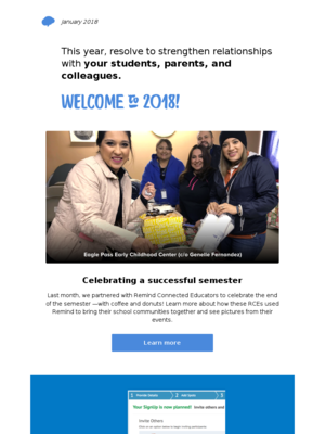 Remind newsletter: January 2018 edition