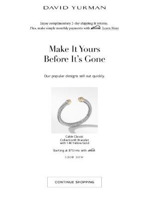 David Yurman - Don't miss out on your David Yurman jewelry