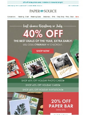 Last Chance! 40% off Christmas in July Deals!