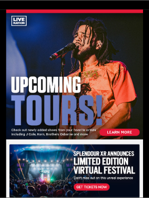 Live Nation - Live Nation with J Cole, Korn, Bob Dylan, Chase Atlantic, Enrique Iglesias, Bruce Springsteen and more!