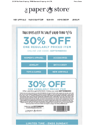 The Paper Store - 30% Off + Free Hand Sanitizer