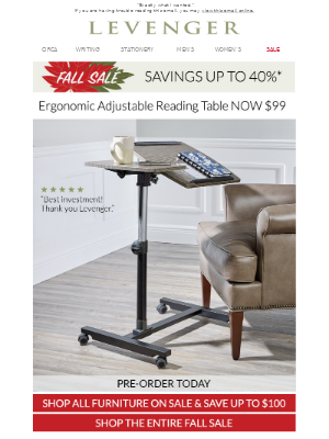 Only $99. Adjustable Reading Table.