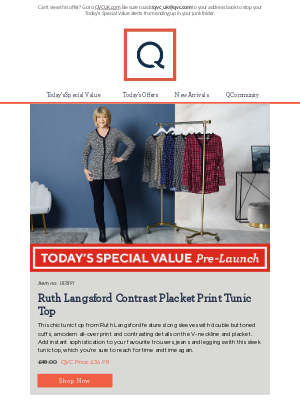 QVC (UK) - See Today's Special Value Pre-Launch: Ruth Langsford Contrast Placket Print Tunic Top