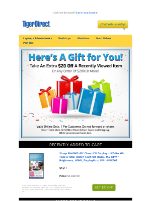 TigerDirect - Leave Something In Your Cart? Take $20 OFF!