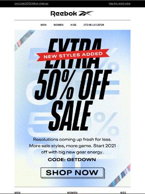 Reebok - Happy New GEAR: Extra 50% Off SALE