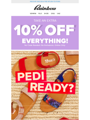 Rainbow Shops - 👀 Looking for sandals? 🙋 We got 'em 👏👏 $12.99 + 10% OFF!