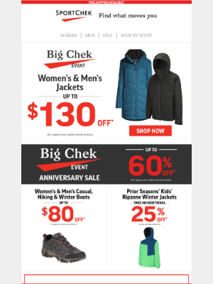 Sport Chek (CA) - BIG Chek Event 🗸 Up To $130 Off Jackets + More