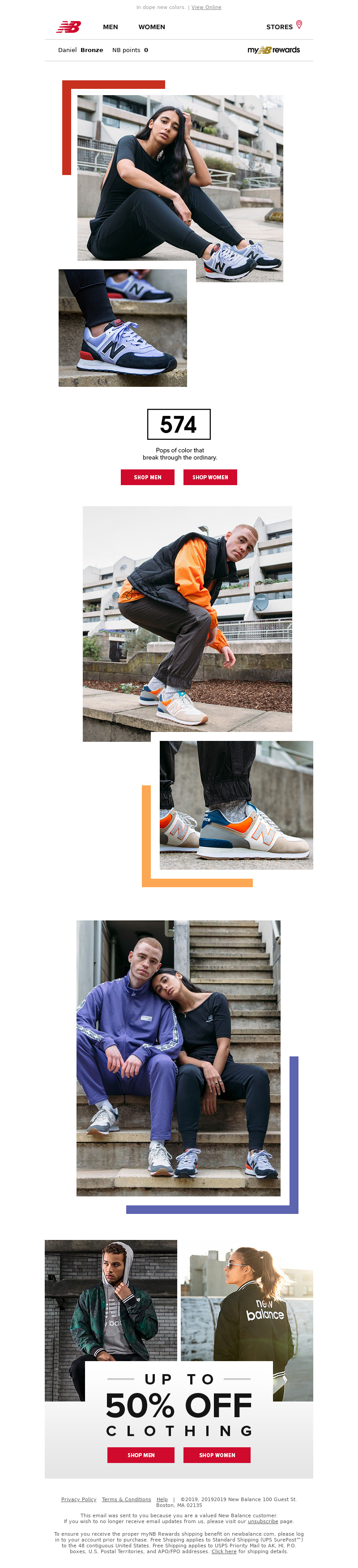 Shoe and footwear email from New Balance