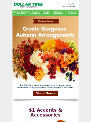 Shop $1 Fall Floral Supplies