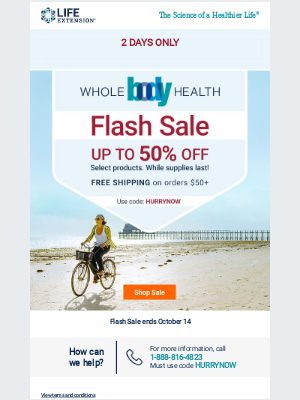 Life Extension - Flash Sale: Get up to 50% Off